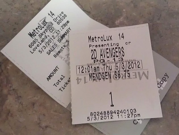 Avengers Ticket Stub