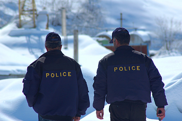 Police patrol in winter